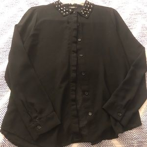 Sheer long sleeve black top button up